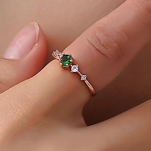 ieftine Inele-Pentru femei Inel Tail Ring Cristal 1 buc Alb Verde Roz Alamă Diamante Artificiale Circle Shape femei Simplu Corean Zilnic Ieșire Bijuterii Clasic Stl Floare Draguț