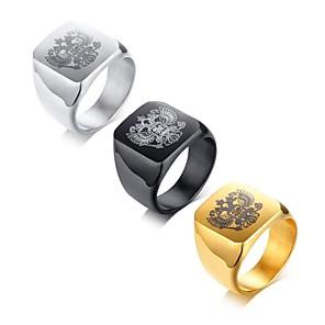 ieftine Fâșii Becurie LED-Bărbați Midi Ring Inel sigiliu 1 buc Negru Auriu Argintiu Oțel titan Pătrat Modă Militar Petrecere Zilnic Bijuterii Clasic Cool