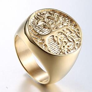ieftine Inele-Bărbați Inel Inel sigiliu 1 buc Maro deschis Oțel titan inox Rotund Stilat Design Unic Punk Zilnic Stradă Bijuterii Stl Sculptură Gravat Copacul Vieții Cool