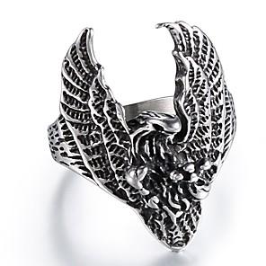 ieftine Inele-Bărbați Inel 1 buc Argintiu Oțel titan Rotund Neregulat Declarație Vintage Punk Stradă Club Bijuterii Stil Vintage Sculptură Vultur Cool