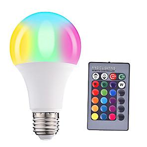 ieftine Becuri LED Glob-HRY 1 buc 5 W Bulbi LED Inteligenți 200-500 lm E26 / E27 A60(A19) 3 LED-uri de margele SMD 5050 Intensitate Luminoasă Reglabilă Telecomandă Decorativ RGBW 85-265 V / 1 bc / RoHs