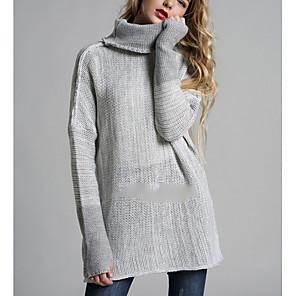 ieftine Cercei-Pentru femei Zilnic De Bază Oversize Mată Manșon Lung Regular Plover Pulover pulovere Maro / Gri Închis / Gri Deschis S / M / L
