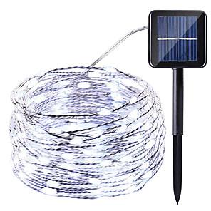 HKV 10 m Lysslynger 100 LED 1set Varm hvit Kjølig hvit Rød Vanntett Solar Fest Soldrevet