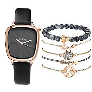 ieftine Ceasuri Brățară-Pentru femei Ceas Elegant Quartz Set cadou Piele PU Matlasată Negru / Alb / Roșu Cronograf Draguț Creative Analog femei Modă minimalist - Gri Rosu Negru / Alb Un an Durată de Viaţă Baterie
