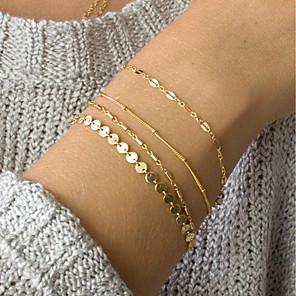 ieftine Colier la Modă-4 buc Pentru femei ID brățară Link / Lanț Plin de graţie femei La modă Elegant Delicat Aliaj Bijuterii brățară Auriu / Argintiu Pentru Zilnic Muncă