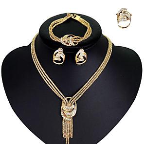 ieftine Seturi de Bijuterii-Pentru femei Zirconiu Cubic Lănțișor Cercei Brățară Arcan Declarație femei Stilat European Elegant Italiană Ștras Placat Auriu cercei Bijuterii Auriu Pentru Nuntă Petrecere Petrecere Logodn / Inel
