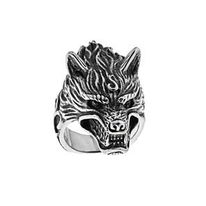 ieftine Inele-Bărbați Band Ring 1 buc Argintiu Oțel titan Circular Stil Tatuaj Vintage Guro Lolita Halloween Carnaval Bijuterii Gravat Cap Lup Cool