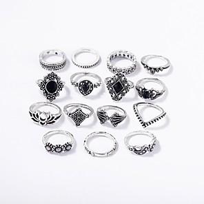 ราคาถูก ไดรเวอร์ LED-สำหรับผู้หญิง ชุดหูฟัง แหวนใส่กลางนิ้ว แหวนวางซ้อนกันได้ 15pcs สีเงิน โลหะผสม สุภาพสตรี โรแมนติก บาร์ เทศกาล เครื่องประดับ สไตล์วินเทจ