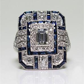 povoljno Naušnice-Žene Band Ring Zaručnički prsten Kubični Zirconia 1pc Plava Plastika Titanij Čelik Circle Shape Geometric Shape Vintage Elegantno Vjenčanje Angažman Jewelry Vintage Style Klasičan