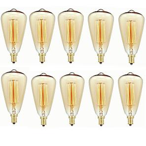 ieftine Becuri Incandescente-10pcs 40 W E14 ST48 Alb Cald 2200-2700 k Retro / Intensitate Luminoasă Reglabilă / Decorativ Incandescent Vintage Edison bec 220-240 V