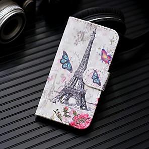 ieftine Părți Motociclete & ATV-Maska Pentru Samsung Galaxy S9 / S9 Plus / S8 Plus Portofel / Titluar Card / Cu Stand Carcasă Telefon Turnul Eiffel Greu PU piele