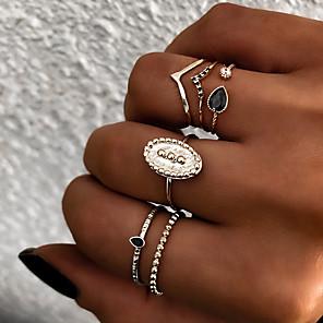 olcso Gyűrűk-Női Ujjperc gyűrű Gyűrű készlet Több ujjas gyűrű 6db Arany Ezüst Gyanta Ötvözet Ovális hölgyek Vintage Punk Ajándék Napi Ékszerek Retro Nap Menő