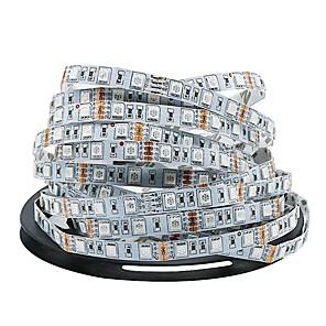 Недорогие Освещение салона авто-Ziqiao dc12v светодиодные полосы света 5 м / лот 300 светодиодов светодиодные ленты 5050smd гибкие светодиодные светильники украшения лампы RGB 5050 светодиодные ленты