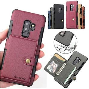 ieftine Cuarț ceasuri-Maska Pentru Samsung Galaxy S9 / S9 Plus / S8 Plus Titluar Card / Magnetic Capac Spate Mată Greu PU piele