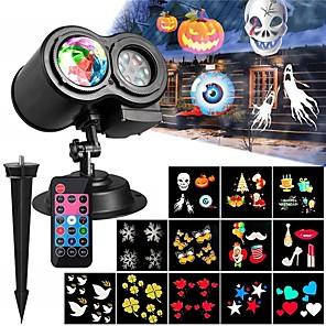 ieftine Proiectoare Mini Laser-kwb 1 buc 12 diapozitive led floodlight impermeabil controlat de la distanță multimodabil culoare pentru Halloween Crăciun Festaval curte grădină 12 perle led