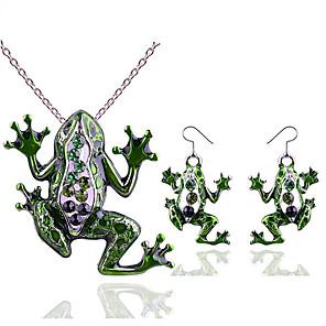 ieftine Seturi de Bijuterii-Pentru femei Zirconiu Cubic Cercei Picătură Coliere cu Pandativ Animal Declarație femei Stilat La modă Ștras cercei Bijuterii Verde Pentru Cadou Concediu
