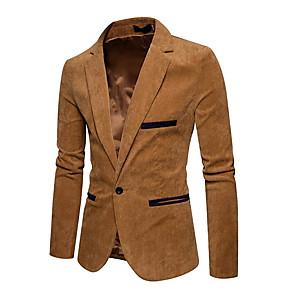 ieftine Blazer & Costume de Bărbați-Bărbați Zilnic Activ Regular Blazer, Mată Rever Shawl Manșon Lung Acrilic / Poliester Plisată Bleumarin / Roșu Vin / Kaki