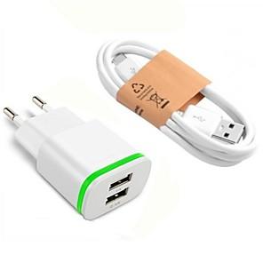 ieftine încărcător cu cablu-Încărcător Portabil Încărcător USB Priză EU cu cablu / Multi-Ieșiri 2 Porturi USB 2.1 A DC 5V pentru S9 / S7 / S6