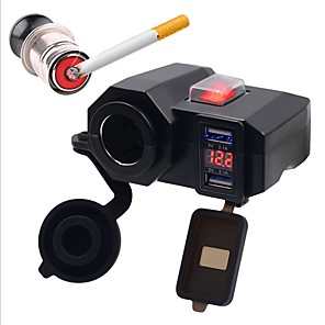 ieftine Spoturi LED-5v 4.2a încărcător de mașină încărcător de motocicletă două porturi usb brichetă led led voltmetru digital cu fire pentru motocicletă