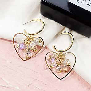 povoljno Naušnice-Žene Viseće naušnice Poveznica / lanac Srce dame Europska Pozlaćeni Austrijski kristal Naušnice Jewelry Zlato Za Ulica 1 par