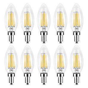 ieftine Becuri LED Lumânare-YWXLIGHT® 10pcs 6 W Becuri LED Lumânare Bec Filet LED 500-600 lm E14 C35 6 LED-uri de margele COB Crăciun decor de nunta Alb Cald Alb 220-240 V