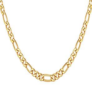 ieftine Coliere-Bărbați Lănțișoare Figaro lanț Mariner Chain Modă Teak Auriu Negru Argintiu 55 cm Coliere Bijuterii 1 buc Pentru Cadou Zilnic