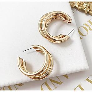 ieftine Cercei-Pentru femei Cercei Rotunzi Multistratificat stivuibil femei Simplu European Modă cercei Bijuterii Auriu / Argintiu Pentru Casual Zilnic 1 Pair