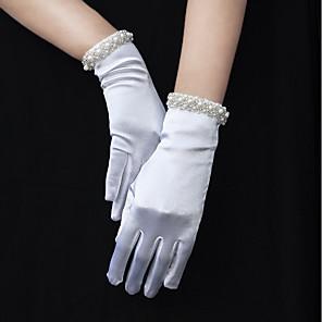 ieftine Mănuși & Mănuși 1 deget-Satin Elasticizat Lungime Încheietură Mănușă Margine cu Mărgele / Mănuși Cu Perlă Artificială / Breton / Terminaţii