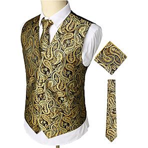 ieftine Blazer & Costume de Bărbați-Bărbați Muncă / Club Afacere / Lux / Vintage Primăvară / Toamnă / Iarnă Regular Γιλέκο, Imprimeu Paisley În V Fără manșon Bumbac / Spandex Imprimeu Auriu / Ocazional afaceri / Zvelt