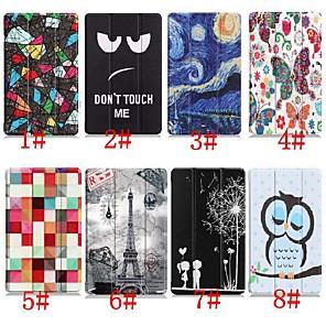 ieftine Frontale-Maska Pentru Huawei Huawei Mediapad M5 Lite 10 / MediaPad M5 10 (Pro) / MediaPad M5 10 Cu Stand / Întoarce / Model Carcasă Telefon Turnul Eiffel / Pictură în Ulei / Bufniţă Greu PU piele