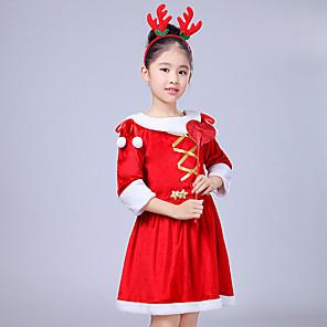 povoljno Halloween smink-Cosplay Nošnje Santa Clothe Dječji Djevojčice Božić Božić New Year Festival / Praznik Vuna Red Karneval kostime Odmor