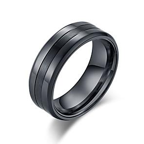 ieftine Cercei-Bărbați Band Ring Inel Groove Inele 1 buc Negru Argintiu Oțel Tungsten inox Stilat De Bază La modă Zi de Naștere Cadou Bijuterii Clasic Cool