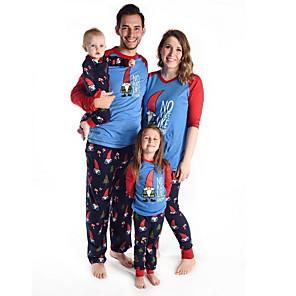 povoljno Muški satovi-Obiteljski izgled Osnovni Božić Dnevno Životinja Božić Dugih rukava Sleepwear Plava