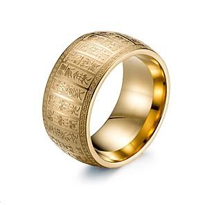 ieftine Inele-Bărbați Band Ring 1 buc Auriu Argintiu Oțel titan Circle Shape Chinoiserie Zilnic Bijuterii Retro