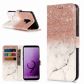 ieftine Imbracaminte & Accesorii Căței-Maska Pentru Samsung Galaxy S9 / S9 Plus / S8 Plus Portofel / Titluar Card / Cu Stand Carcasă Telefon Marmură Greu PU piele