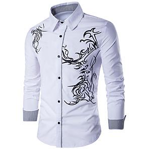 povoljno Muške košulje-Majica Muškarci - Aktivan / Osnovni Dnevno / Vikend Pamuk Geometrijski oblici Slim Crn / Dugih rukava