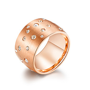 ieftine Colier la Modă-Pentru femei Band Ring Inel Zirconiu Cubic 1 buc Negru Roz auriu Argintiu inox femei Stilat Vintage Serată Gril pe Kamado  Bijuterii Clasic Cool