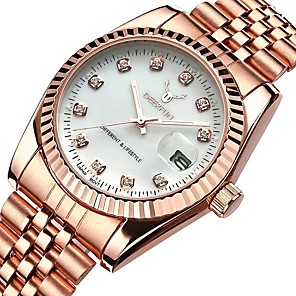 ieftine Brățări-Pentru femei Ceasuri de lux Ceas de Mână Diamond Watch Japoneză Quartz Oțel inoxidabil Argint / Roz auriu 30 m Rezistent la Apă Calendar Cronograf Analog femei Atârnat Elegant - Negru Roz auriu Roz