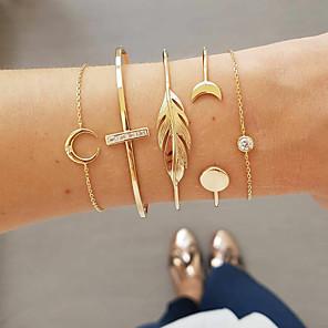 ieftine Brățări-5pcs Pentru femei Diamant sintetic Brățări cu Lanț & Legături Brățară Clasic femei Artistic Design Unic Modă Aliaj Bijuterii brățară Auriu Pentru Zilnic Stradă
