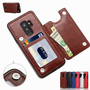 Недорогие Чехол Samsung-Кейс для Назначение SSamsung Galaxy S9 / S9 Plus / S8 Plus Бумажник для карт / со стендом Кейс на заднюю панель Однотонный Мягкий Кожа PU