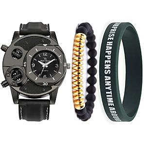 ieftine Colier la Modă-Bărbați Ceas de Mână Quartz Set cadou Atârnat Cronograf Piele Negru Analog - Negru Doi ani Durată de Viaţă Baterie / Japoneză / Japoneză