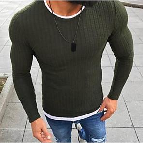 ieftine Bluze de Bărbați și Cardigane-Bărbați De Bază Mată Plover Manșon Lung Zvelt Regular Pulover Cardigans Negru Roșu-aprins Trifoi