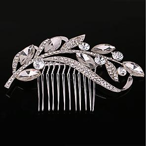 ieftine Piepteni-Pentru femei Piepteni de Păr Pentru Nuntă Zilnic Leaf Shape Imitație de Perle Ștras Aliaj Argintiu