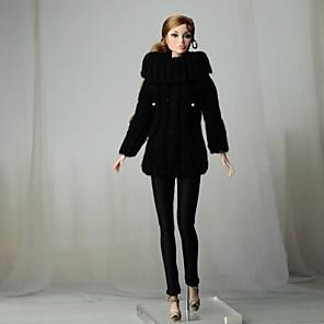 ieftine Haine Păpușă Barbie-Pulover cardigan și pulover Corpuri separate Pantaloni 2 pcs Pentru Barbie Modă Negru textil Poli / Bumbac Mușama Vârf / Pantaloni Pentru Fata lui păpușă de jucărie