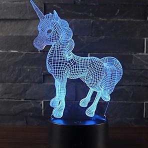 ieftine Tricouri LED-frumos unicorn romantic cadou 3d condus lampă de masă 7 culoare schimba noaptea lumina cameră decor lustruit vacanță prietena jucării copii