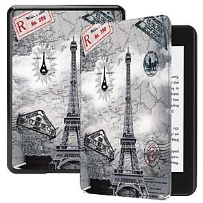 ieftine Brățări-Maska Pentru Amazon Kindle PaperWhite 4 Anti Șoc / Cu Stand / Model Carcasă Telefon Fluture / Decor / Turnul Eiffel Greu PU piele