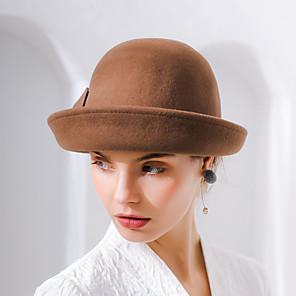olcso Lolita divat-Audrey Hepburn Női Felnőttek hölgyek Retró Filc kalapok kalap Fekete Barna Piros Régies (Vintage) Virág Gyapjú Fejfedők Lolita kiegészítők