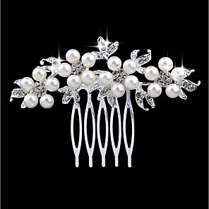 ieftine Bijuterii de Păr-Pentru femei Piepteni de Păr Pentru Nuntă Petrecere Zilnic Leaf Shape Floral Imitație de Perle Ștras Aliaj Argintiu