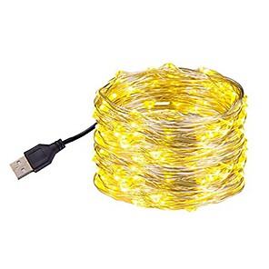 ieftine Lupe-10m Fâșii De Becuri LEd Flexibile 100 LED-uri SMD 0603 1 buc Alb Cald / Alb / Multicolor Rezistent la apă / USB / Petrecere Alimentat USB