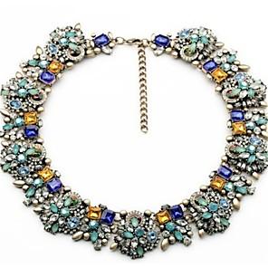 ieftine Colier la Modă-Pentru femei Multicolor Lănțișor Chainul gros Stilat Clasic Plin de Culoare Ștras Aliaj Albastru 47 cm Coliere Bijuterii 1 buc Pentru Petrecere Zilnic
